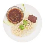 Pollo cortado del Hainan-estilo con arroz adobado fotos de archivo libres de regalías