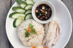 Pollo cortado del Hainan-estilo con arroz adobado foto de archivo libre de regalías