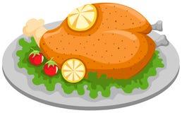 Pollo cotto in una zolla con il limone illustrazione vettoriale