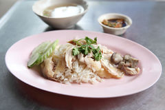 Pollo cotto a vapore gourmet tailandese dell'alimento fotografie stock