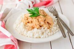 Pollo cremoso del tomate en el arroz Imagen de archivo libre de regalías