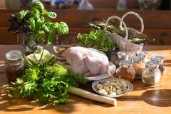 Pollo crudo ed altri ingredienti Immagini Stock Libere da Diritti