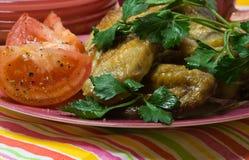 Pollo de carne asada con los tomates Imagen de archivo