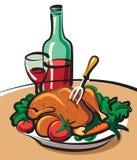 Pollo de carne asada y vino rojo Imagenes de archivo