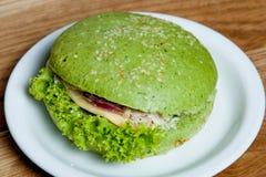 Pollo de la espinaca de la hamburguesa Imagenes de archivo