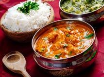 Pollo de la mantequilla y cena del indio de Saag Paneer Imagenes de archivo