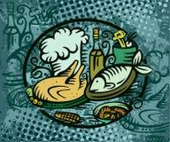 Pollo de los pescados de la cena Fotografía de archivo libre de regalías