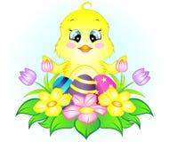 Pollo de Pascua con los huevos y las flores Imagen de archivo