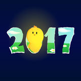 Pollo del Año Nuevo que mira hasta el 2017 Imagen de archivo libre de regalías