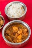 Pollo del ajo y arroz del anacardo Fotografía de archivo