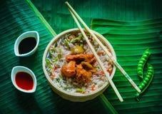 Pollo del arroz frito y de los chiles imagen de archivo