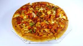 Pollo del barbecue del peperoncino rosso della pizza Immagine Stock