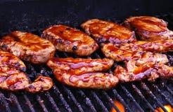 Pollo del BBQ sulla griglia Fotografia Stock