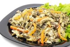 Pollo del bracken della felce con le verdure e l'uovo fotografia stock
