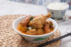 Pollo del curry con arroz Foto de archivo