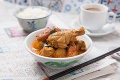 Pollo del curry con arroz y café Fotos de archivo