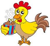 Pollo del fumetto con la casella del pasto Fotografia Stock