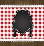 Pollo del pizzo della tovaglia del menu della lavagna Immagine Stock
