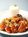 Pollo del sésamo con arroz Fotografía de archivo libre de regalías