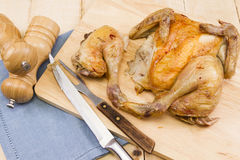 Pollo del spatchcock de la carne asada Fotografía de archivo libre de regalías