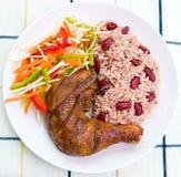 Pollo del tirón con arroz Imagen de archivo