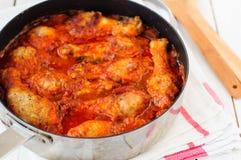 Pollo del tomate y guisado de Mushroon Imagenes de archivo