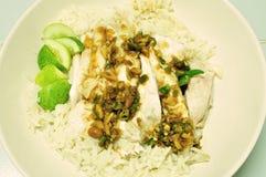 Pollo del vapor con el arroz (pollo de Hainan) imagen de archivo
