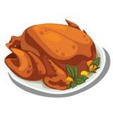 Pollo delicioso cocinado en la placa Comida del vector libre illustration