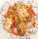 Pollo della casseruola con riso & le verdure Immagine Stock
