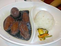 Pollo della salsa di soia con l'uovo ed il riso Fotografie Stock Libere da Diritti