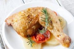 Pollo di arrosto con il pomodoro e la cipolla fotografia stock libera da diritti
