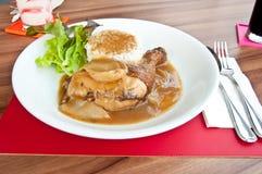 Pollo di arrosto con riso Fotografie Stock Libere da Diritti