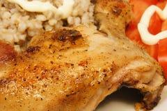 Pollo di arrosto con una crosta dorata Fotografia Stock