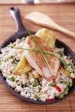Pollo di arrosto e del riso fritto fotografie stock libere da diritti