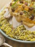 Pollo di incoronazione ed insalata del riso Fotografia Stock