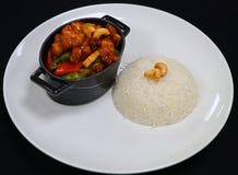 Pollo di Kung Pao di stile cinese con riso immagini stock