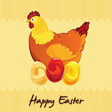 Pollo di Pasqua sulle uova Immagini Stock Libere da Diritti