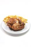 Pollo di Roated con le fritture Fotografie Stock