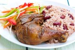 Pollo di scatto con riso fotografia stock libera da diritti