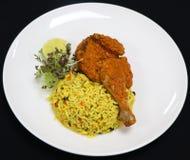 Pollo di stile di Durban con il riso di Oporto fotografia stock