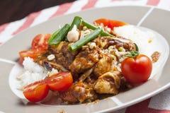Pollo di Szechuan con riso bianco su un piatto Immagini Stock Libere da Diritti
