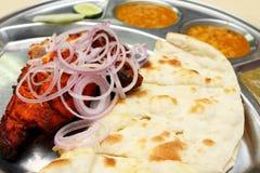 Pollo di Tandoori e pane di Naan Fotografia Stock Libera da Diritti