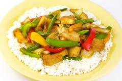Pollo di Teriyaki con le verdure ed il riso Fotografia Stock Libera da Diritti