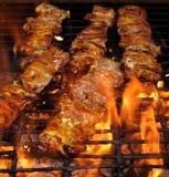 Pollo di Teriyaki cotto alla griglia fiamma Fotografia Stock Libera da Diritti
