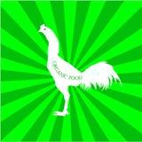 Pollo disegnato a mano dell'animale da allevamento Iscrizione dell'alimento Illustrazione Fotografia Stock