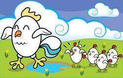 Pollo divertido de la historieta con los pollos que caminan encendido Fotos de archivo libres de regalías