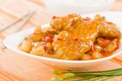 Pollo dolce & acido cinese Fotografia Stock