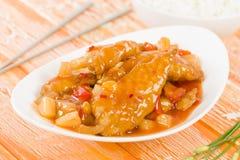 Pollo dolce & acido cinese Immagine Stock Libera da Diritti