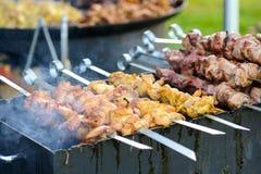 Pollo e carne di maiale della griglia Fotografia Stock Libera da Diritti
