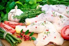 Pollo e condimento grezzi Fotografia Stock